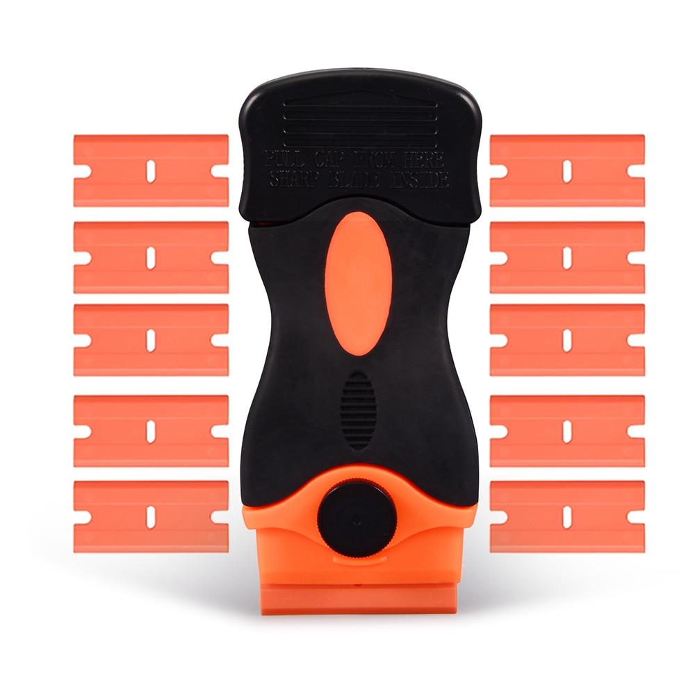 """EHDIS Jilet Kazıyıcı Araba Çekçek Ile 10 adet 1.5 """"Plastik Bıçaklar Araba Vinil Film Wrap Folyo Sticker Tutkal Sökücü Pencere Tonları aracı"""