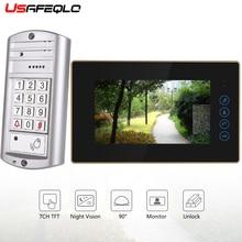 """USAFEQLO """" проводной видео дверной звонок визуальный двухсторонний аудио отпечаток пальца непромокаемый IR-CUT ночного видения пульт дистанционного разблокирования Видео дверной телефон"""