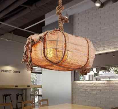 Подвесные светильники для изучения простой спальни сад стиль балкон прохода склад Ретро железная лампа ресторанная сумка Веревка LU731365