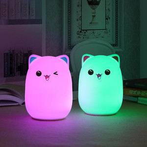 Image 5 - Touch Sensor Colorful Cat LED Night Light Remote Control RGB Silicone USB Rechargeable Bedroom Bedside Lamp for Children Baby
