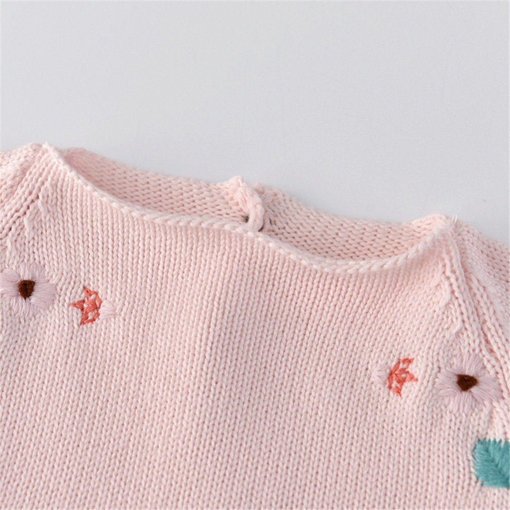 Auro Mesa Infant Baby Girl Pink Embroidered Knit Long Sleeve Loose Bodysuit Baby Girls Toddler Outfits in Bodysuits from Mother Kids