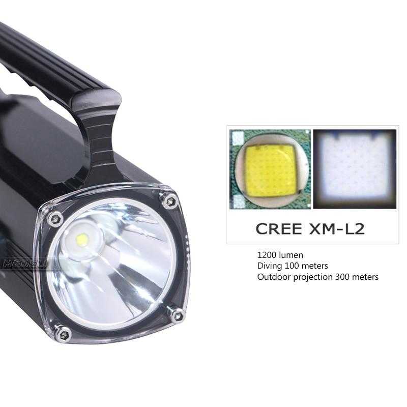 100M underwater work lamp diving flashlight spotlight xm l2 scuba led flashlights with battery diver torch waterproof linterna