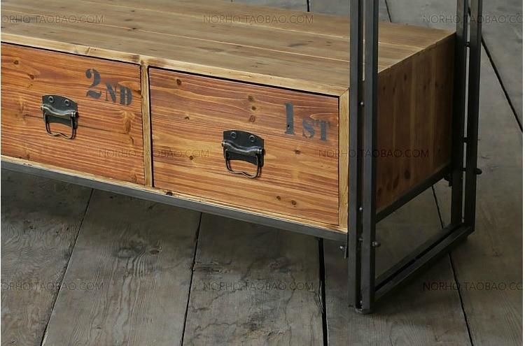 Amerikaanse land woonkamer tv kast retro hout smeedijzeren console ...