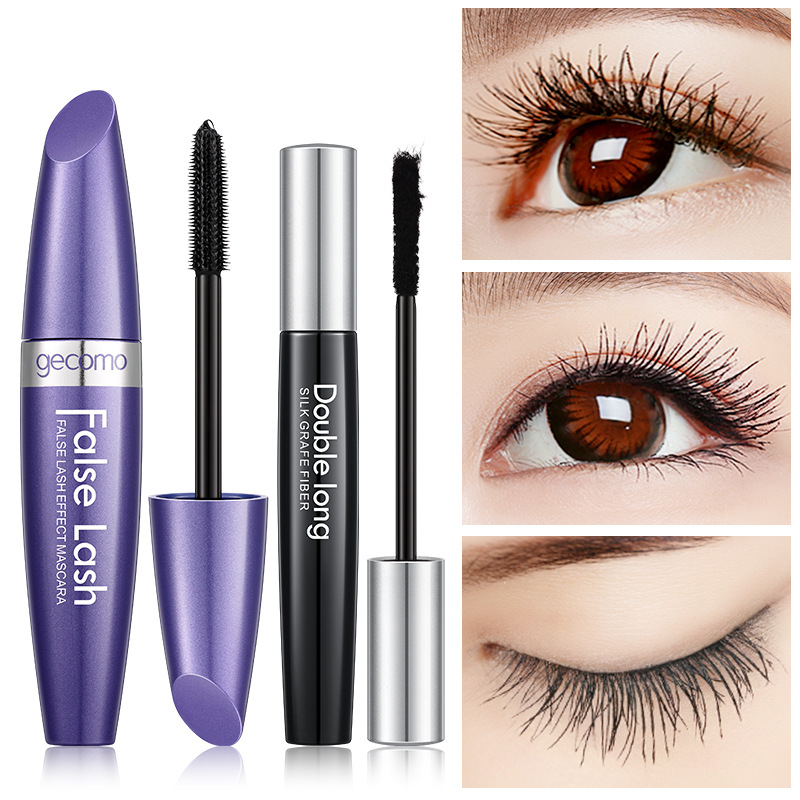 Gecomo Fiber Mascara Set Combination Thickened Long Curling Grafted Super 10ML Thick Mascara+1.5G Make-up For Ladies 2019