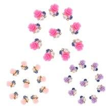 10Pcs/Set 3D Nail Art Decorations Rose Flowers Jewelry Glitters Crystal Rhinestones DIY Nail Tools