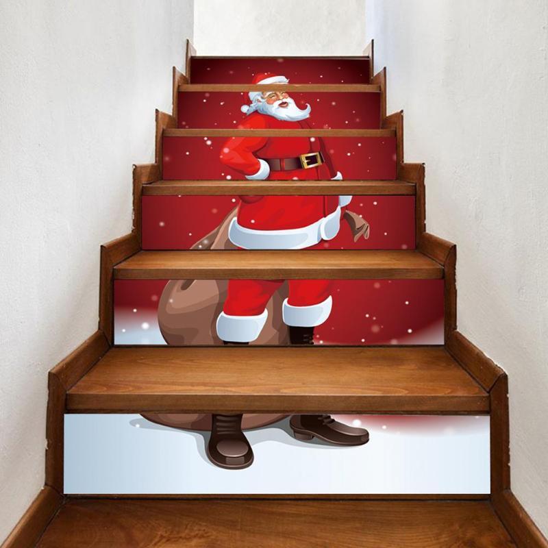 6 teile/satz Wasserdichte PVC Treppen Aufkleber Schneemann Santa Claus Weihnachten Boden Stairway Aufkleber Weihnachten Dekoration Für Home