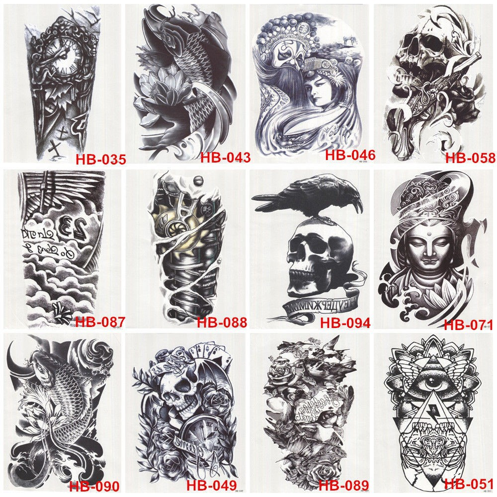 5 Pcs Hot Black Fish Totem Temporary Tattoo Stickers Waterproof Body Art Big Fake Shoulder Tattoo For Men and Women (18)