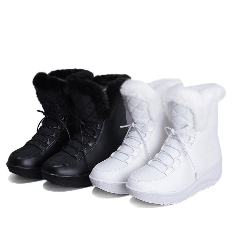 53d9e60c9caa Plus size 35 44 New 2018 Snow Boots platform women winter shoes waterproof  ankle boots lace up fur boots white black black white-in Ankle Boots from  Shoes ...