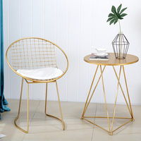 Nordic Modern Minimalist Single Chair Balcony Casual Small Round Table And Chairs Coffee Table Combination Gold Iron Bar Stools