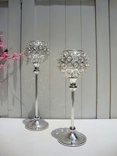 H30/35 см стеклянные хрустальные серебряные подсвечники свадебные