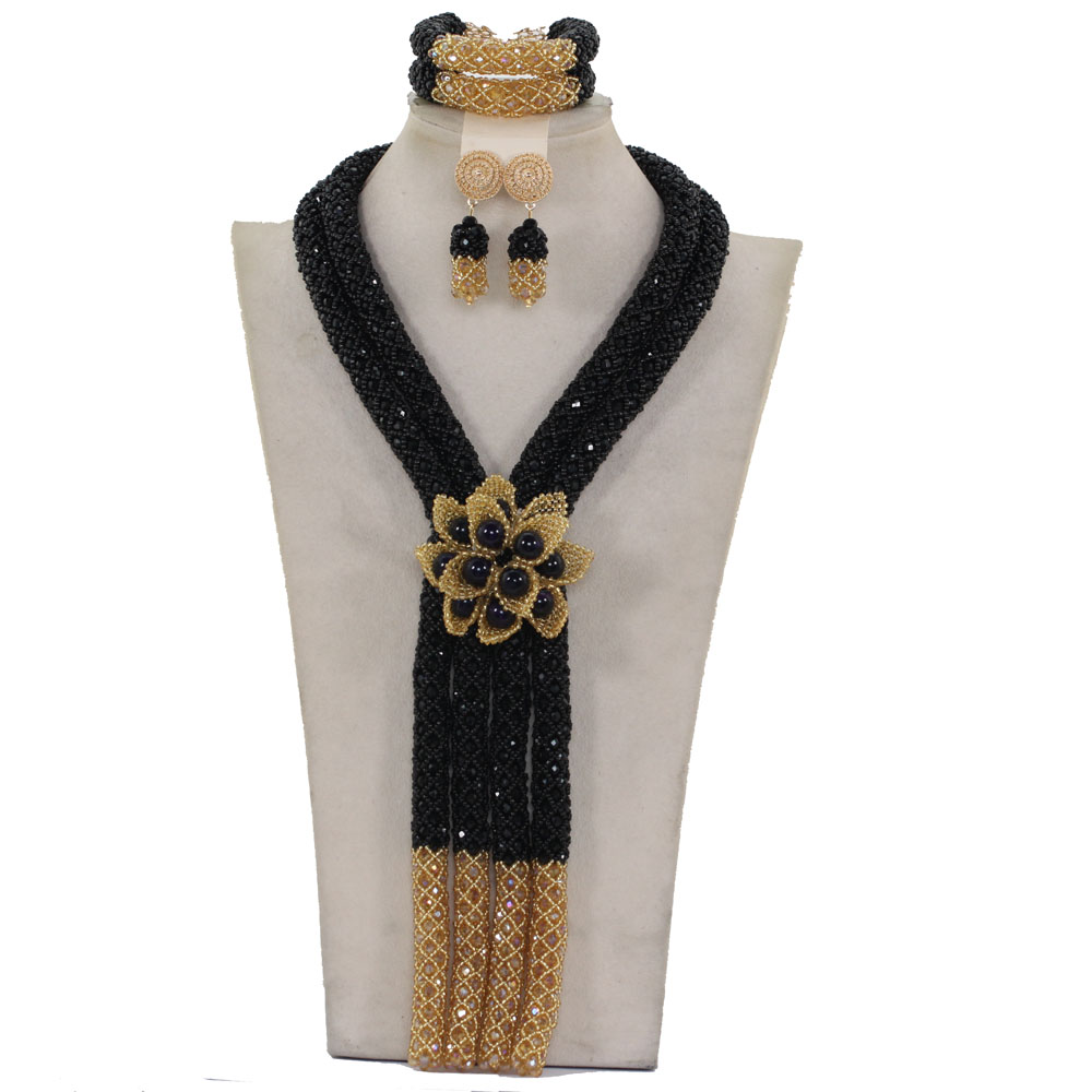 2017 Indian Bridal Flower Statement Necklace Set Exclusive Long Black Gold African Wedding Beads Jewelry Set Free ShippingABH5072017 Indian Bridal Flower Statement Necklace Set Exclusive Long Black Gold African Wedding Beads Jewelry Set Free ShippingABH507