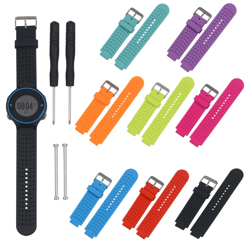 Newest Fashion Silicone Watch Strap Replacement With Pins & Tools For Garmin Forerunner 220 230 235 630 620 735XT