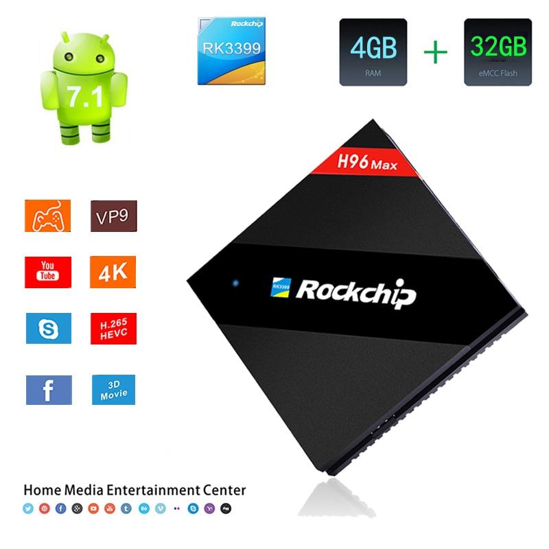 H96 Max TV Box Android 7.1 RK3399 2.4G/5G Dual Band WiFi 1000M HDMI 4GB RAM 32GB ROM 4K H.265 WiFi Bluetooth 4.0 HD Smart TV Box цена 2017