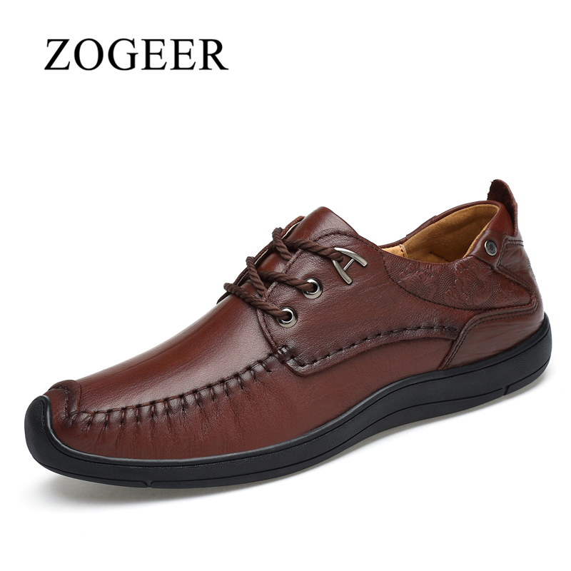 ZOGEER 2017 Handmade Autumn Men Genuine Leather Shoes, High Quality Men Casual Shoes, Comfortable Breathable Lace Up Male Shoe high quality men casual shoes fashion lace up air mesh shoe men s 2017 autumn design breathable lightweight walking shoes e62