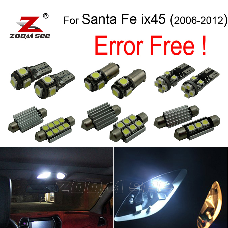 11pcs LED License plate lamp interior lights kit package for Hyundai for Santafe for Santa fe