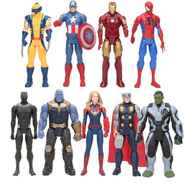 Brinquedos maravilha Vingador Endgame 30 centímetros Filme Super Hero thanos rman hulk thor Capitão América homem de Ferro homem Aranha Figura brinquedos modelo
