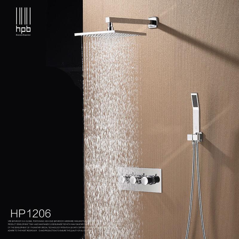 HPB Brass Bathroom Hot And Cold Water Mixer Wall Mounted Bath Shower Set Faucet torneira banheiro Shower Head HP1206