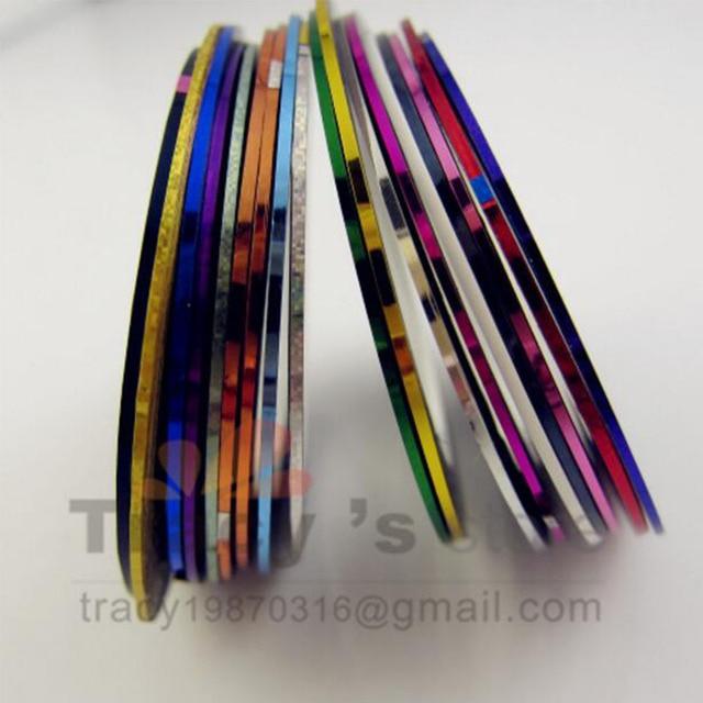 FreeShipping 18 Color Metallic Yarn Mixed Glue Adhesive Stick Strip Rolls Striping Tape Line Nail Art Decoration Sticker Decal