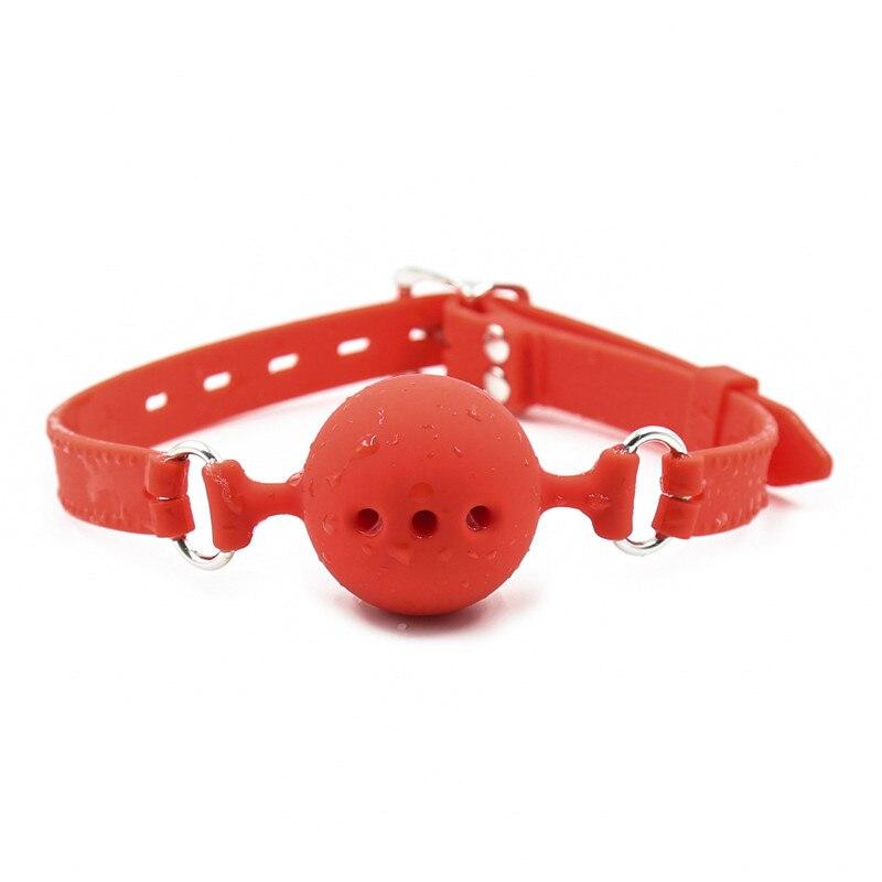 Bola de mordaza de silicona de seguridad suave de 3 tamaños para mujeres ataduras juguete sexual esclavo mordaza para parejas Bdsm orificio abierto ventilación