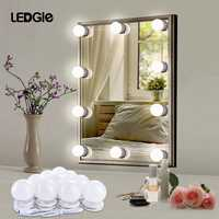 LEDGLE 12 Makeup Mirror Vanity LED Light Bulbs lamp Kit Hollywood Natural White Light Waterproof Stepless Dimming for Dressing
