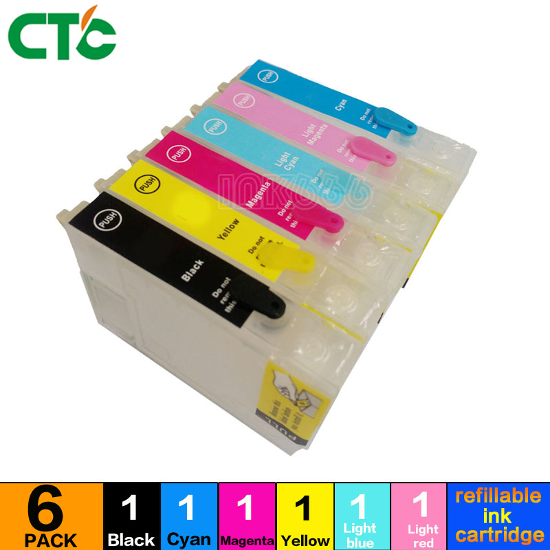 6pcs T0481 Refillable ink cartridge FOR epson STYLUS PHOTO R200 R220 R300 R300M R320 R340 RX500 RX600 RX620 RX640 printer image