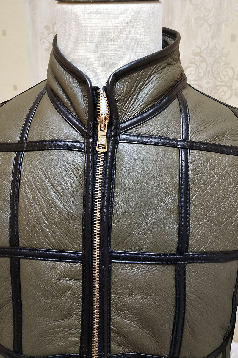Winter warm men's fur one sheep shearing leather plaid outdoor cotton coat leather jacket thick warm skin