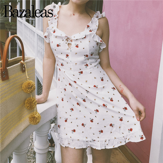 0d2edfcd75d Bazaleas Small Flower Pattern Women spaghetti strap Dress Front Frill Trim  Summer Dress France casual dresses Holiday vestido