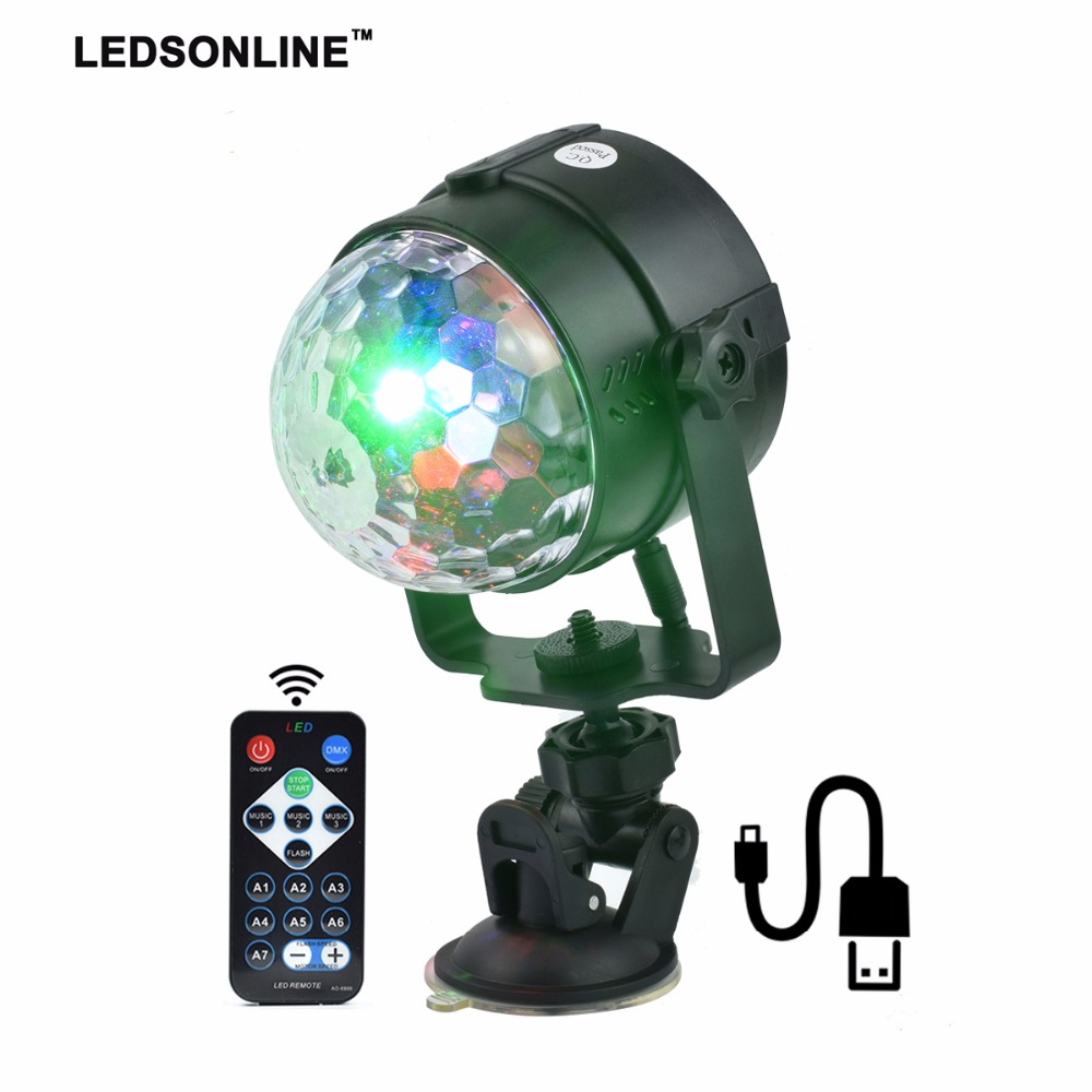 Stage Effect Light   IR Remote RGB LED Crystal Magic Rotating Ball Lights Colorful For Party KTV DJ Disco Car Home Club