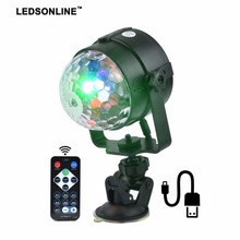 Stage Effect Light   IR Remote RGB LED Crystal Magic Rotating Ball Lights Colorful for Party KTV DJ Disco Car Home Club eu us plug ktv club bar mini rotating led rgb crystal magic ball effect light disco dj stage business lighting ac220v