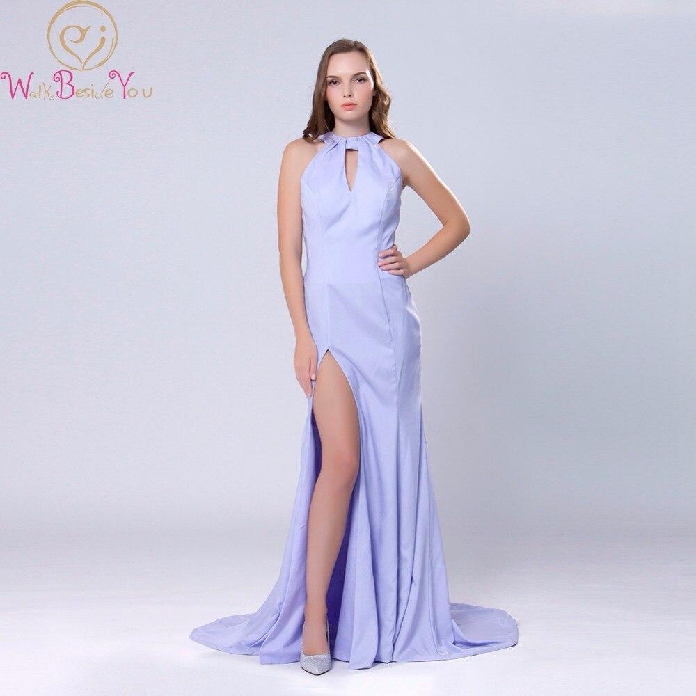 Elegant Lavender   Evening     Dresses   Satin Long Halter Neck Backless with Bow Mermaid High Split Sexy Prom Gowns Abito Da Sera 2019