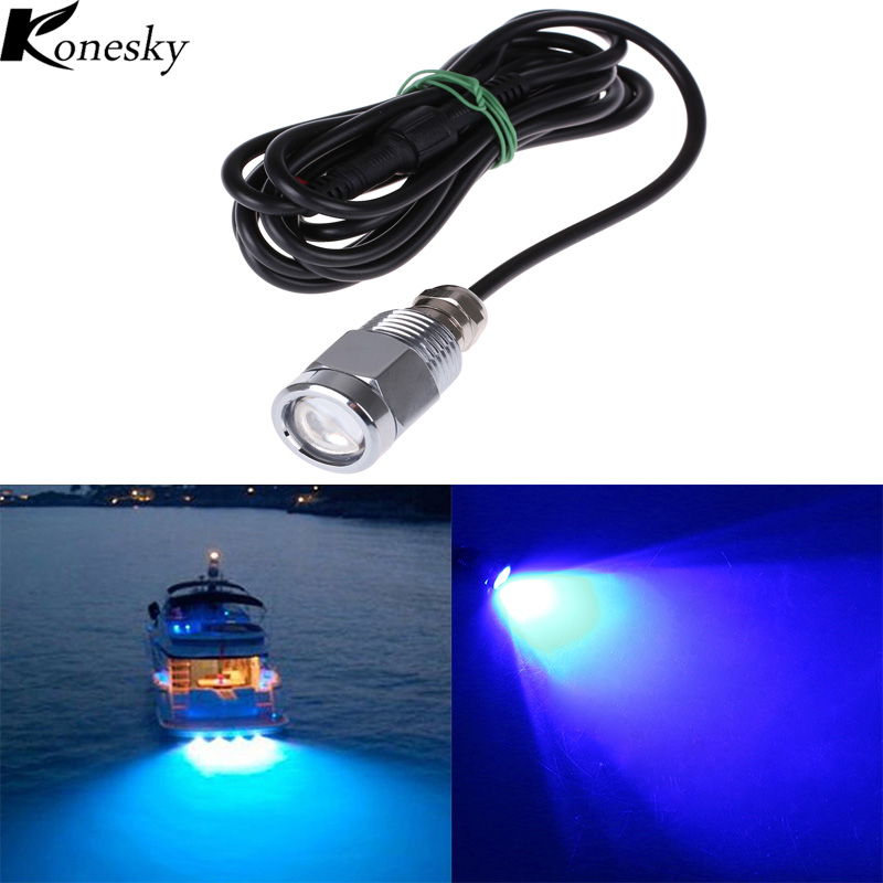 Marine yacht Boat LED lights 12W 12V Drain Plug Light Blue Underwater Stainless