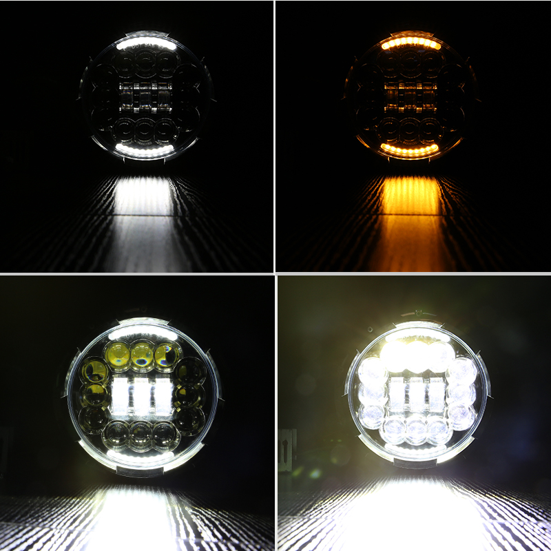 90W LED For Lada 4x4 urban Niva 7 black LED H4 headlight daymaker lamps headlamp for Jeep Wrangler JK TJ LJ Land Rover Defender 75w 5d 7 inch round led projector daymaker headlight for jeep wrangler jk land rover defender 90