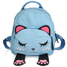 Cute Cat Backpack Female Canvas Leather Patchwork Embroidery Backpacks for Teenage Girls Funny School Rucksack Travel Bag цены