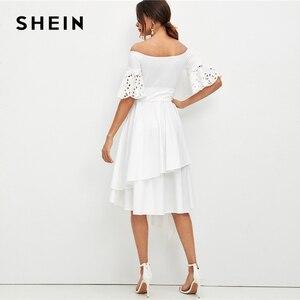 Image 3 - שיין אלגנטי לבן לייזר לחתוך שרוול ממחטת Hem כבוי כתף שמלת נשים מוצק חגור Fit ואבוקת קיץ המפלגה midi שמלות