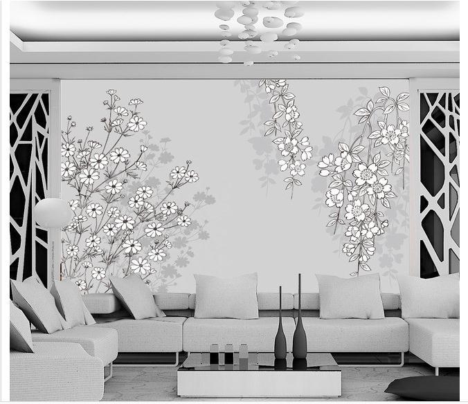 3d wallpaper custom 3d wall mural wallpaper flower mural for Black and white wall mural wallpaper