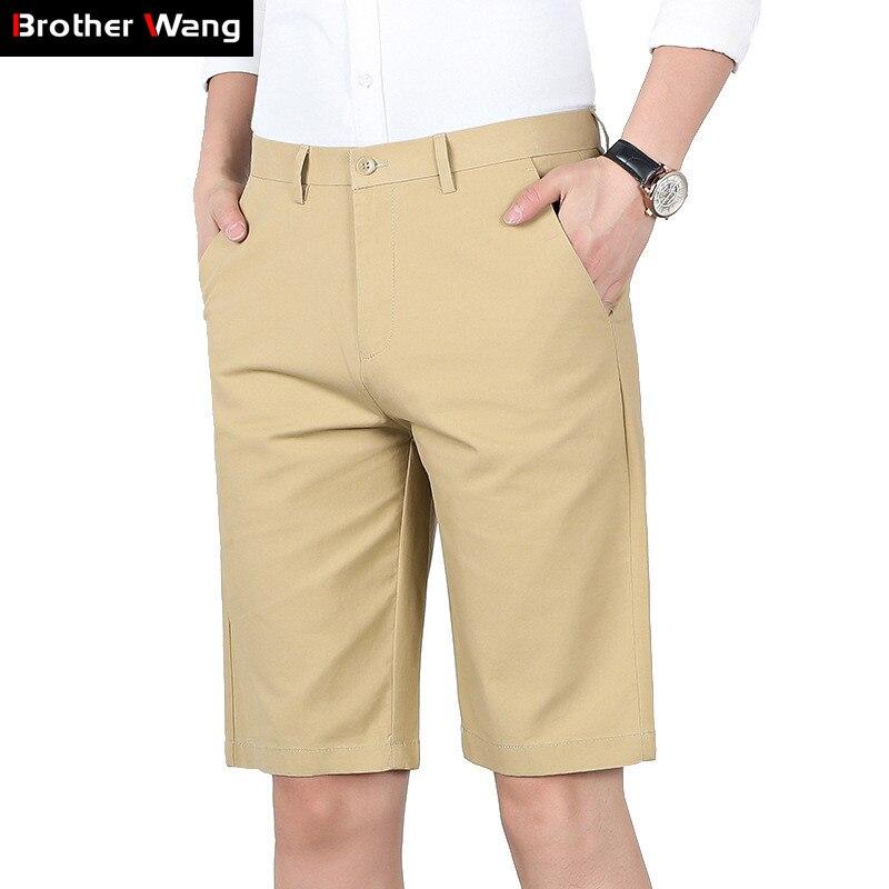 Khaki Shorts Pants Business Elastic-Force Men's Cotton Summer Fashion Brand New Casual