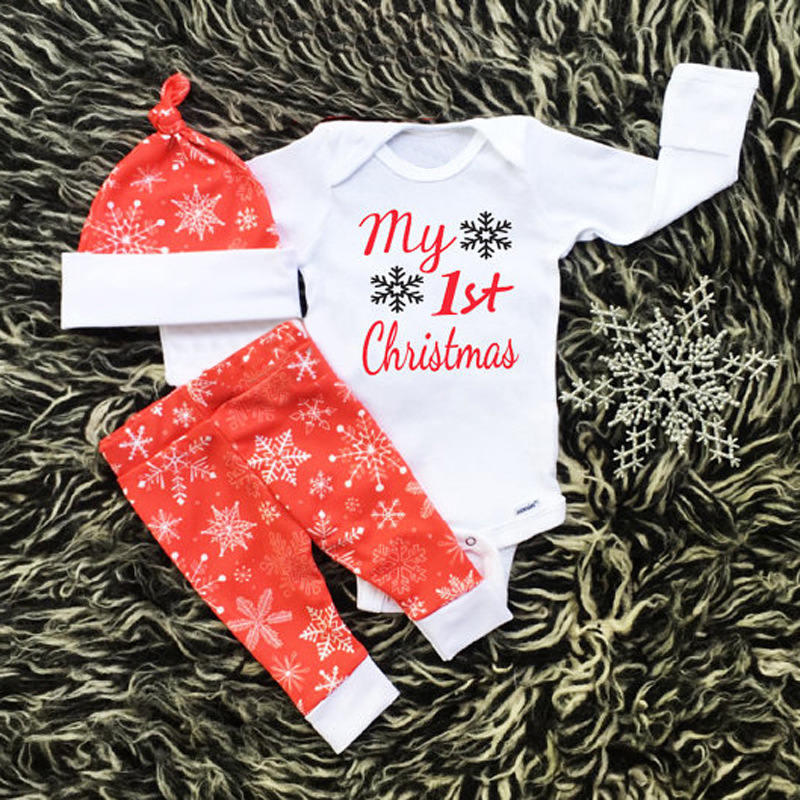 2017 Newborn Baby Girl Clothes My First Christmas Baby Bodysuit Tiny Cottons Autumn Long Pants Hat 3pcs Clothing Sets Outfits my christmas cd