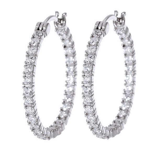 D/vvs1 1 Inside Out Hoop Earrings, Sterling Silver Or Silver-colored Finish inside out
