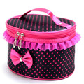 Portable Women Cosmetic Bag Lace Bow Dot Print Travel Toiletry Makeup Storage Organizer Make up Holder Handbag Box Beauty Case