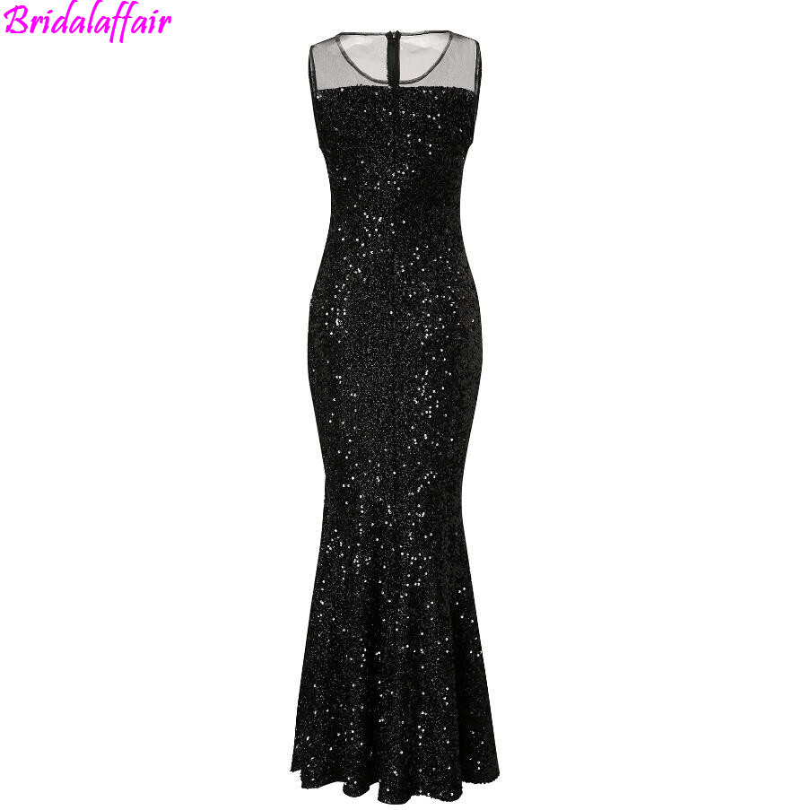 Mermaid Evening Dress 2018 Scoop Celebrity Vestidos Formal Golden Red Black Sequins Special Occasion Dresses calda de sereia in Celebrity Inspired Dresses from Weddings Events