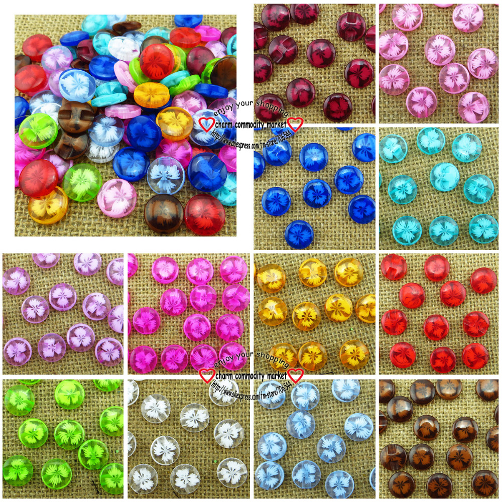 100PCS 14MM colors flower pattern Dyed RESIN buttons coat boots sewing clothes accessories R-118