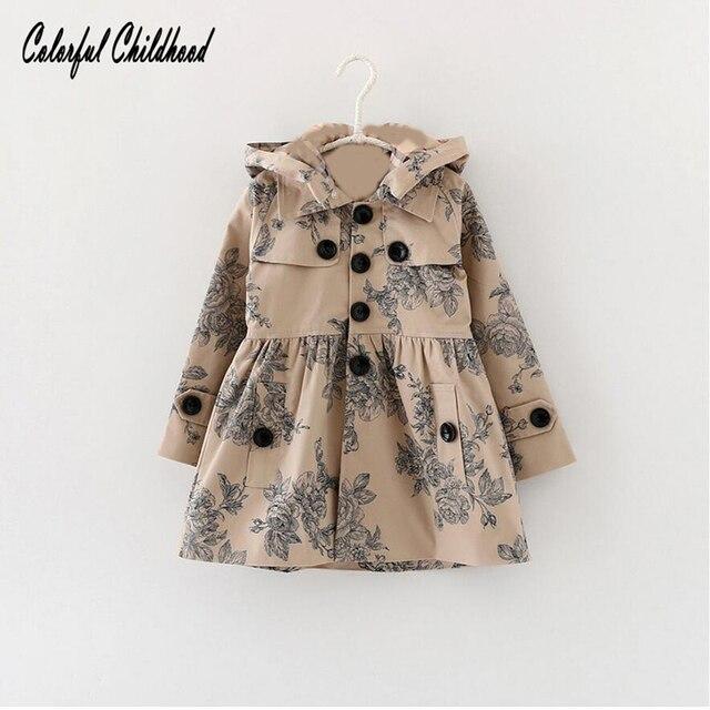 Детская верхняя одежда для девочек Пальто для будущих мам 2017 г. новинка из весенней коллекции цветочный принт Водонепроницаемый ветрозащитная куртка с капюшоном для девочек От 2 до 7 лет
