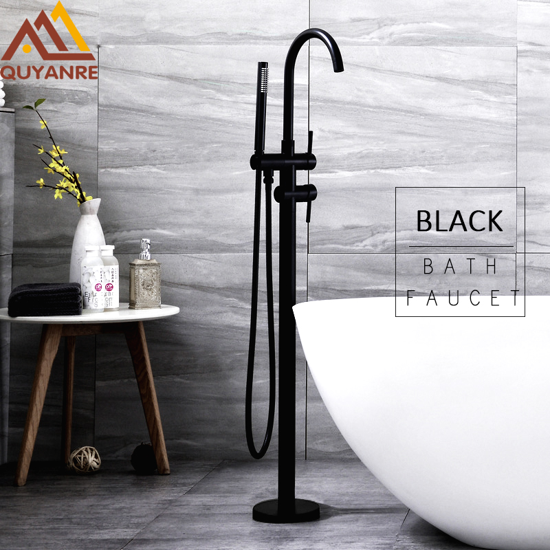 цена на Quyanre Black Bathtub Floor Stand Faucet Mixer Single Handle Mixer Tap 360 Rotation Spout With ABS Handshower Bath Mixer Shower