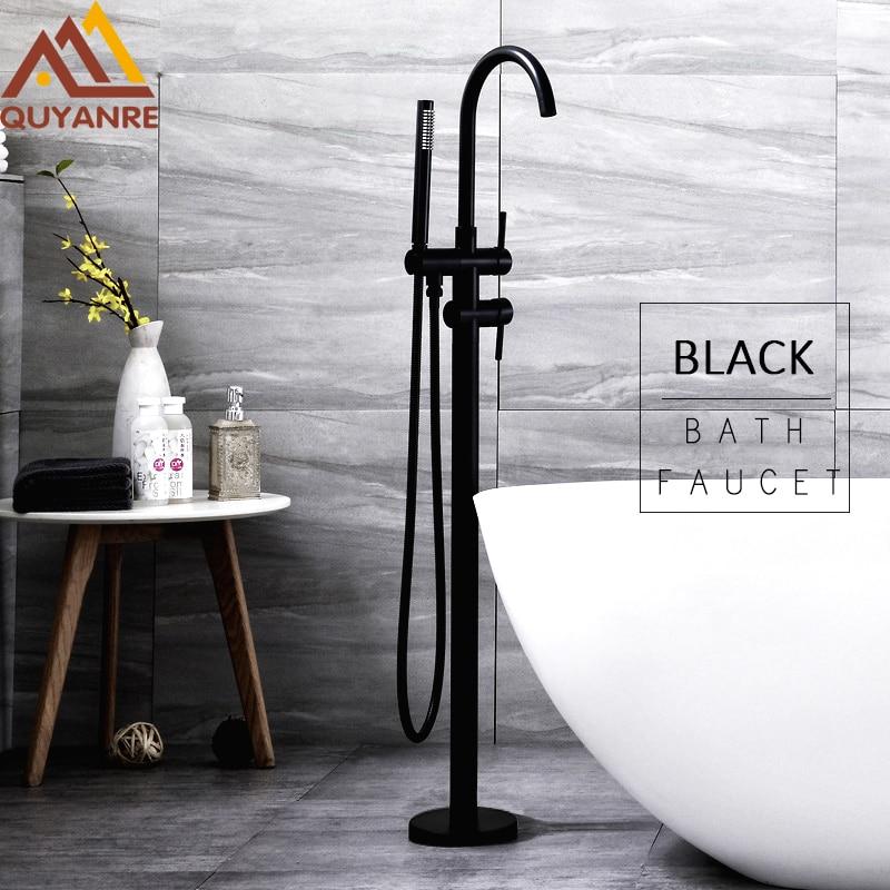 Quyanre Black Bathtub Floor Stand Faucet Mixer Single Handle Mixer Tap 360 Rotation Spout With ABS Handshower Bath Mixer Shower цена и фото