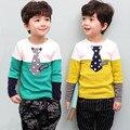2016 meninos das meninas Da Forma t camisas Meninos Tecido de Algodão roupas crianças Agasalho bebê dos desenhos animados caçoa a camisola de Manga longa e Cheia