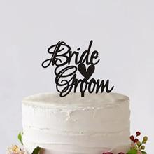 Bride & Groom Wedding Cake Toppers Custom With Big Heart Wedding Cake Decoration Tools