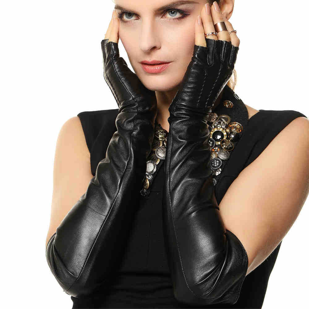 Fashion opera 50cm long real genuine leather gloves half finger sheepskin solid black women fingerless glove sale l140nn