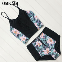 OMKAGI Brand High Neck High Waist Bikinis Set Swimsuit Swimwear Women S Swimming Suit Beachwear Sexy