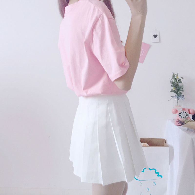 60a35b01905 Harajuku Kawaii Pink White T Shirt Tops Women Summer 2018 Korean Ulzzang  Lolita Style Loose Tshirt Schoolgirl Cute Clothes G304-in T-Shirts from  Women s ...