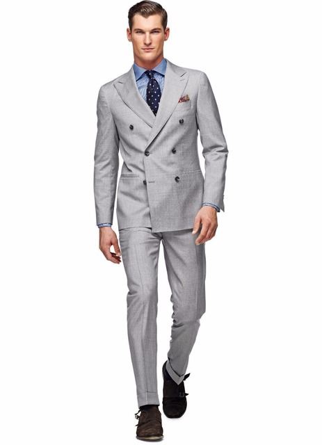 fae264d6d7 FOLOBE Light Grey Custom Made Men Suits Double Breasted Formal Groom  Tuxedos Jacket+Pants Party Dinner Suits